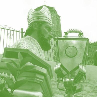 Detalle de San Valero en procesión, bajando por la calle Iglesia (año 2009) >> pincha para verla en la galería.